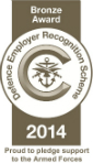 Defence Employer Recognition Scheme 2014 Bronze Award. (Proud to pledge support to the Armed Forces.)